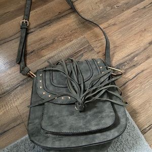 NEW Franco Sarto Grey Leather Crossbody Bag